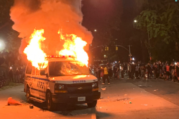 NYPD Van Set on Fire During Protests for George Floyd