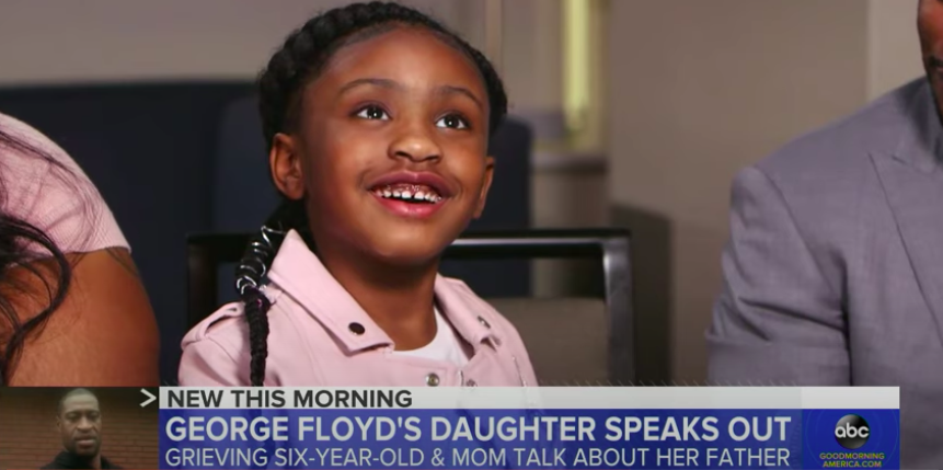 [Watch] George Floyd's 6-Year-Old Daughter Speaks Out For The First Time Since His Death
