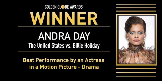 Andra Day Becomes Second Black Woman to Win Golden Globe for Best Actress in a Motion Picture Drama