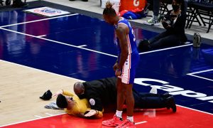Fan Runs On Court During Wizards-Sixers Playoff Game
